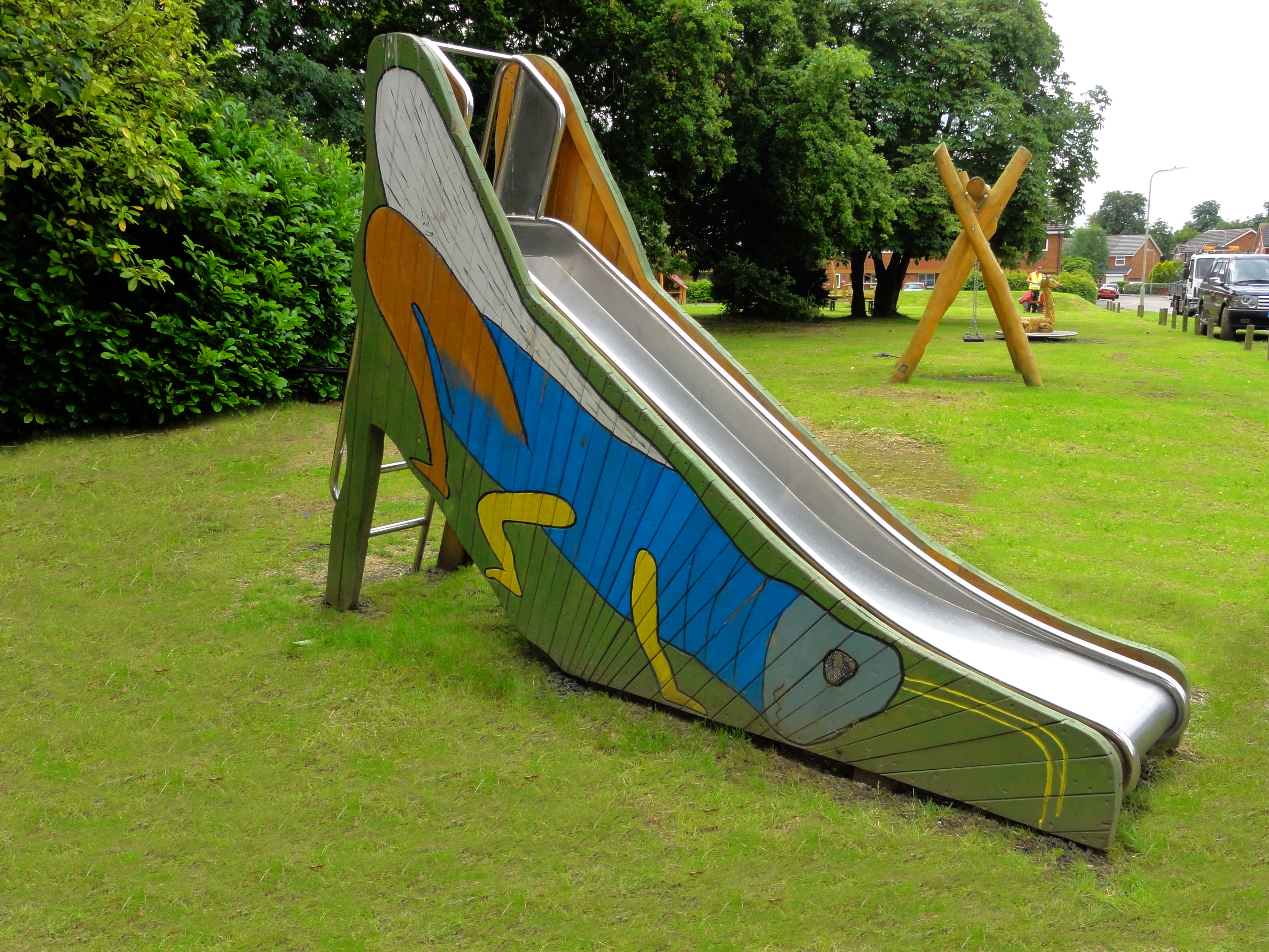 Grasshopper slide, of stainless steel with ladder, h 1.50 m, 54.05B2-150M - CPCL