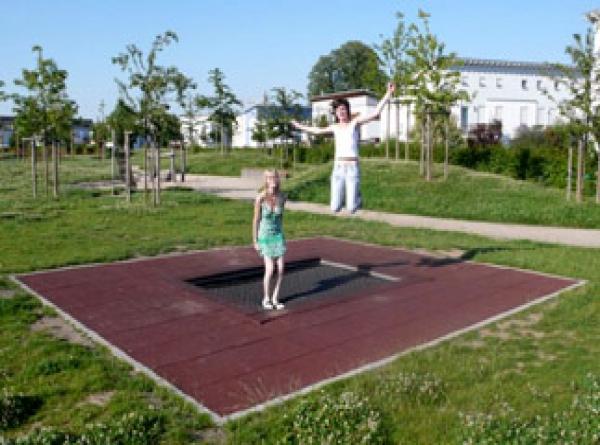 2 Children on a trampoline