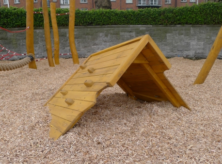 "Climbing Cargo Box, belonging to a Viking themed playground in Dublin, St. Patrick's Park, featuring a ""Viking"" ship wreck, balancing trail and swing with cradle seats. Designed for small children"